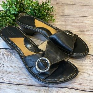 Born Silver Buckle Accent Slide On Sandals